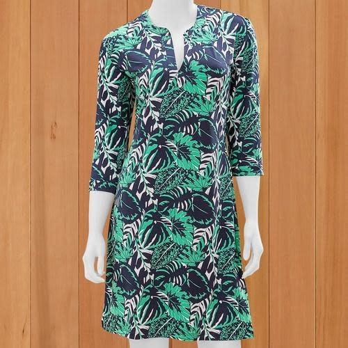 Mary Square Conquer the World Split Neck Havana Print Dress