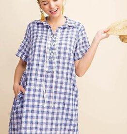 Fleurish Home Blue Plaid Lace Up Placket Dress