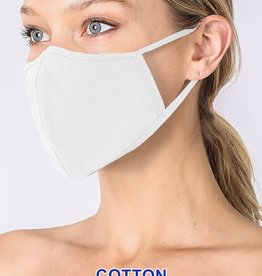 Fleurish Home Basic Cotton Fashion Mask w Filter Pocket: White