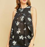 Fleurish Home Sheer Floral Black Sleeveless Blouse