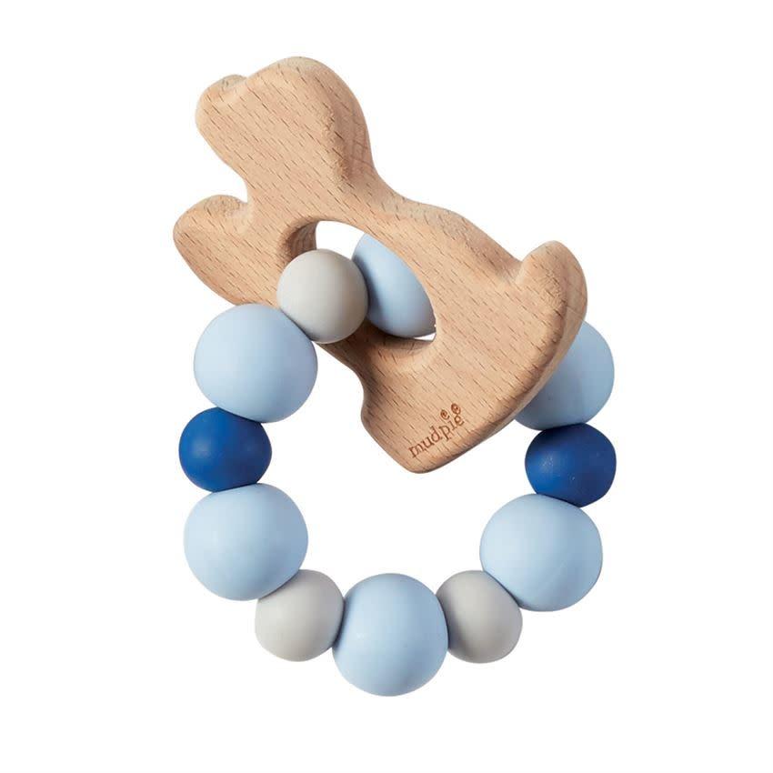 Mudpie PUPPY WOOD TEETHER BLUE