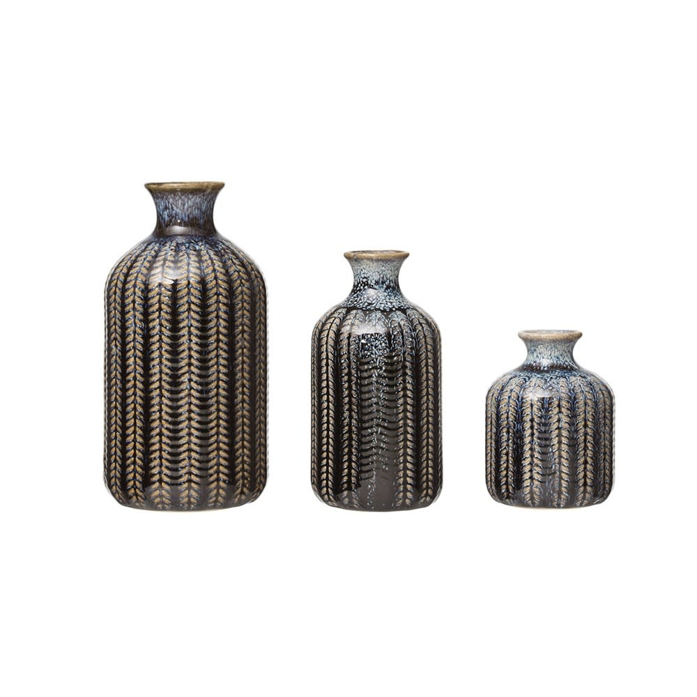 Fleurish Home Med Blue Reactive Glaze Embossed Stoneware Vase (Each One Will Vary)