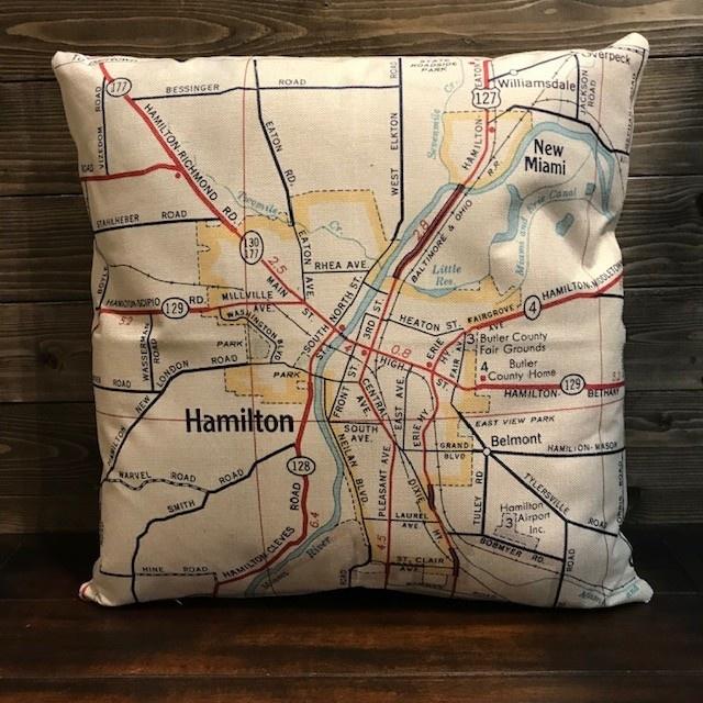 Fleurish Home Hamilton Vintage Map Pillow