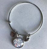 Fleurish Home Vintage Map Charm Bracelet -Silver