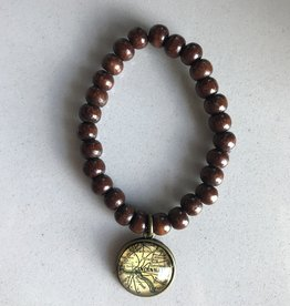 Fleurish Home Brown Wood Bead Vintage Map Charm Bracelet  Cincinnati