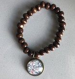 Fleurish Home Brown Wood Bead Vintage Map Charm Bracelet  Hamilton OH