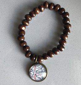 Fleurish Home Brown Wood Bead Vintage Map Charm Bracelet  Hamilton OH