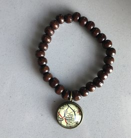 Fleurish Home Brown Wood Bead Vintage Map Charm Bracelet  Oxford/ Miami University