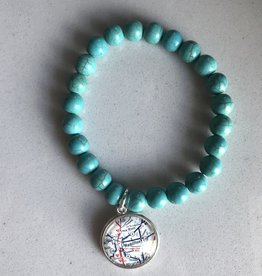 Fleurish Home Hamilton OH Turquoise Stone Bead Vintage Map Charm Bracelet