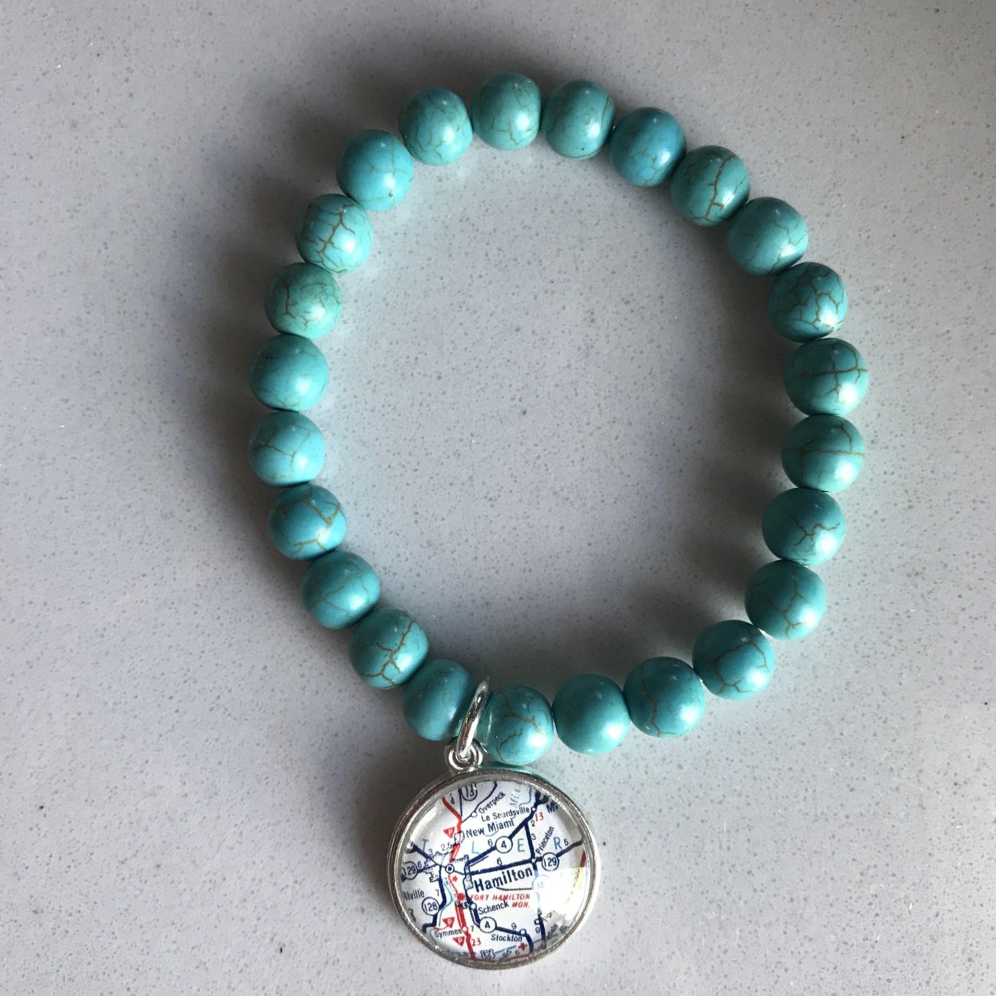 Fleurish Home Turquoise Stone Bead Vintage Map Charm Bracelet  Hamilton OH