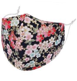 Fleurish Home Pink Floral: Cotton Fashion Mask w Adjustable Sides