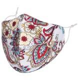 Fleurish Home White Paisley: Cotton Fashion Mask w Adjustable Sides