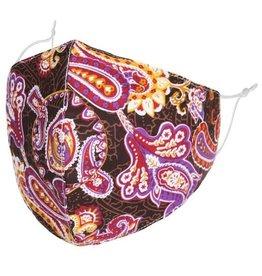 Fleurish Home Purple Paisley: Cotton Fashion Mask w Adjustable Sides