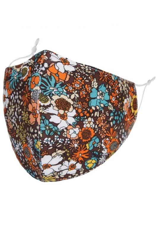 Fleurish Home That 70s Floral: Cotton Fashion Mask w Adjustable Sides