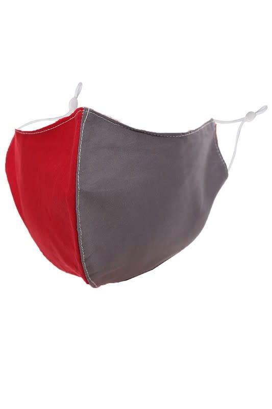 Fleurish Home Team Spirit Red & Grey: Cotton Fashion Mask w Adjustable Sides