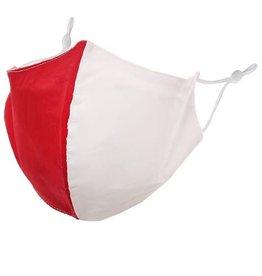 Fleurish Home Team Spirit Red & White: Cotton Fashion Mask w Adjustable Sides