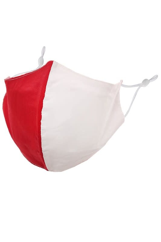Fleurish Home Team Spirit Red & White: Cotton Fashion Mask w Adjustable Sides