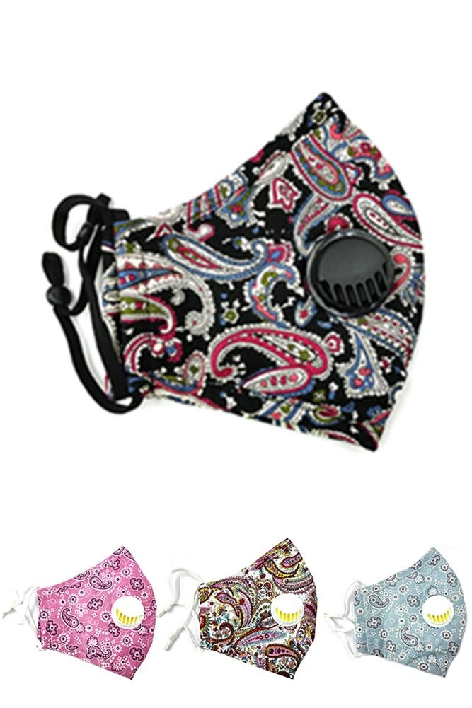 Fleurish Home Adult/Women's Fashion Mask with Vent & Filter Pocket (various)