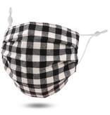 Fleurish Home Black & White Buffalo Plaid: Pleated Style Cotton Fashion Mask w Adjustable Sides