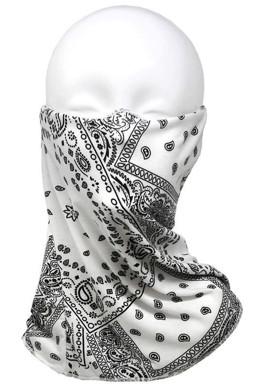 Fleurish Home White Bandana Print Fashion Tube Mask