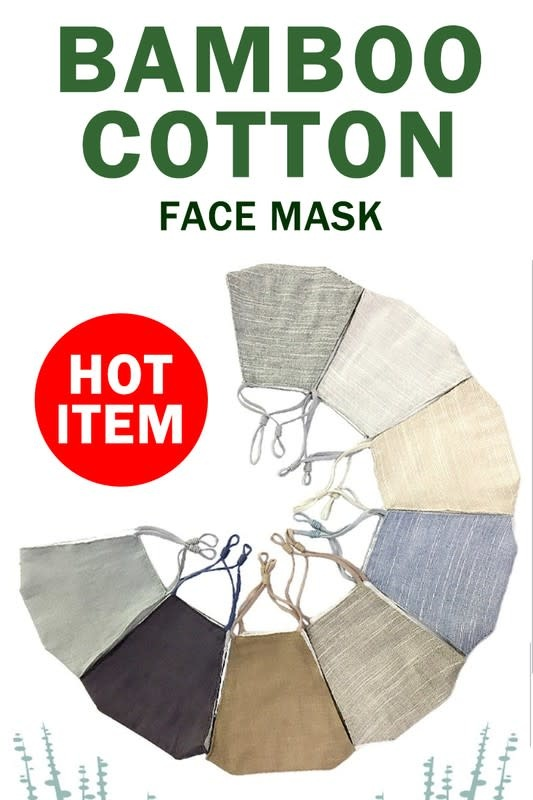 Fleurish Home Bamboo Cotton Solid Color Fashion Mask w Adjustable Sides