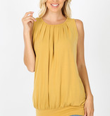 Fleurish Home Signature Pleated Round Neck Banded Bottom Sleeveless Top