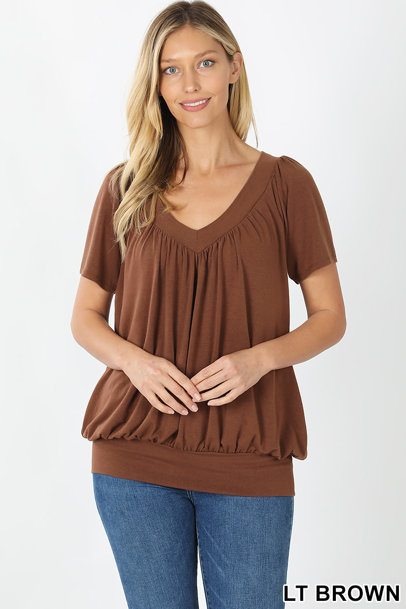 Fleurish Home Signature Pleated Short Sleeve V-Neck Banded Bottom Top