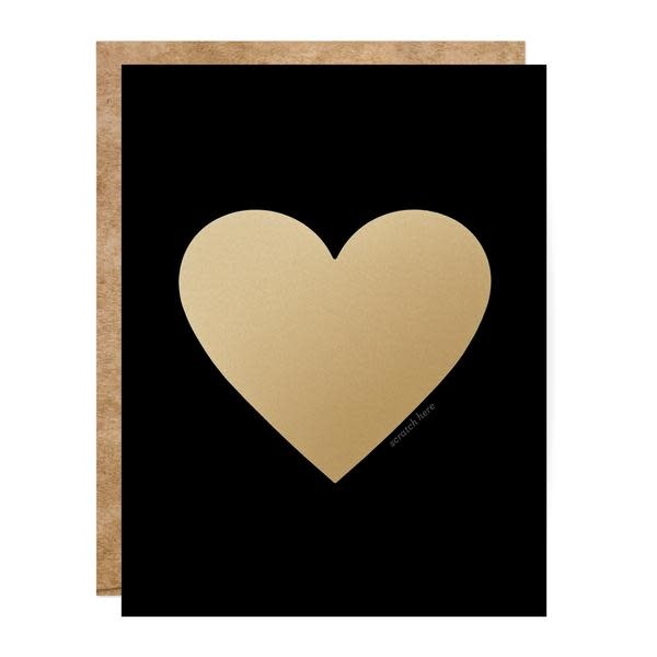 Fleurish Home Black & Gold Heart Scratch Off Card