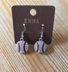 "Fleurish Home ""Emma"" Diamante Baseball French Hook Earrings"
