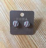 """Fleurish Home """"Emma"""" Diamante Baseball Stud Earrings"""