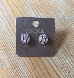 "Fleurish Home ""Emma"" Diamante Baseball Stud Earrings"