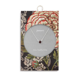 Fleurish Home Simply Birthstone Necklace - January/Garnet