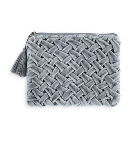 Fleurish Home Velvet Zip Pouch  - Grey