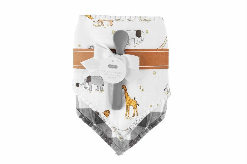 Mudpie SAFARI MUSLIN BIBS AND SPOON