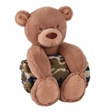 Mudpie CAMO BEAR PLUSH WITH BLANKET