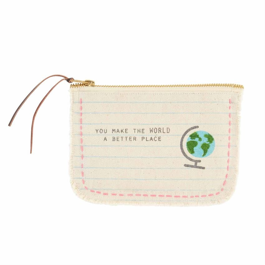 Mudpie GLOBE FRAYED CANVAS POUCH
