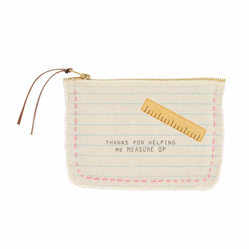 Mudpie RULER FRAYED CANVAS POUCH
