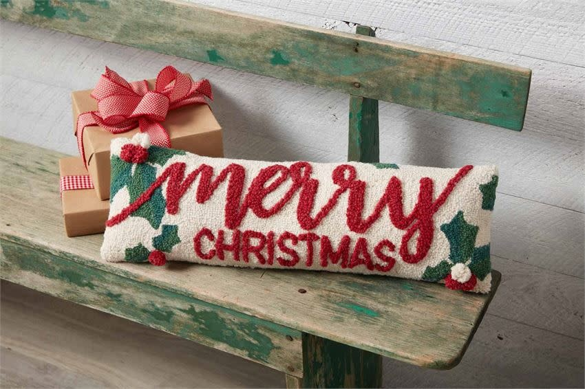 Mudpie HOLLY MERRY CHRISTMAS HOOK PILLOW