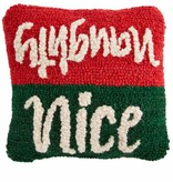 Mudpie NAUGHTY / NICE MINI HOOKED PILLOW