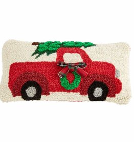 Mudpie CHRISTMAS WREATH TRUCK MINI HOOKED PILLOW