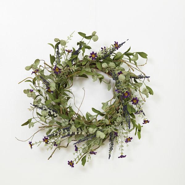"""Fleurish Home Lavender Herbs Wreath 24"""""""