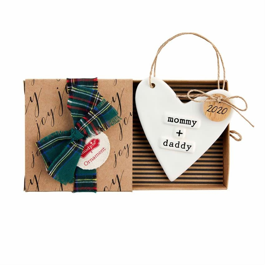 Mudpie 2020 STAMPED MOM DAD ORNAMENT