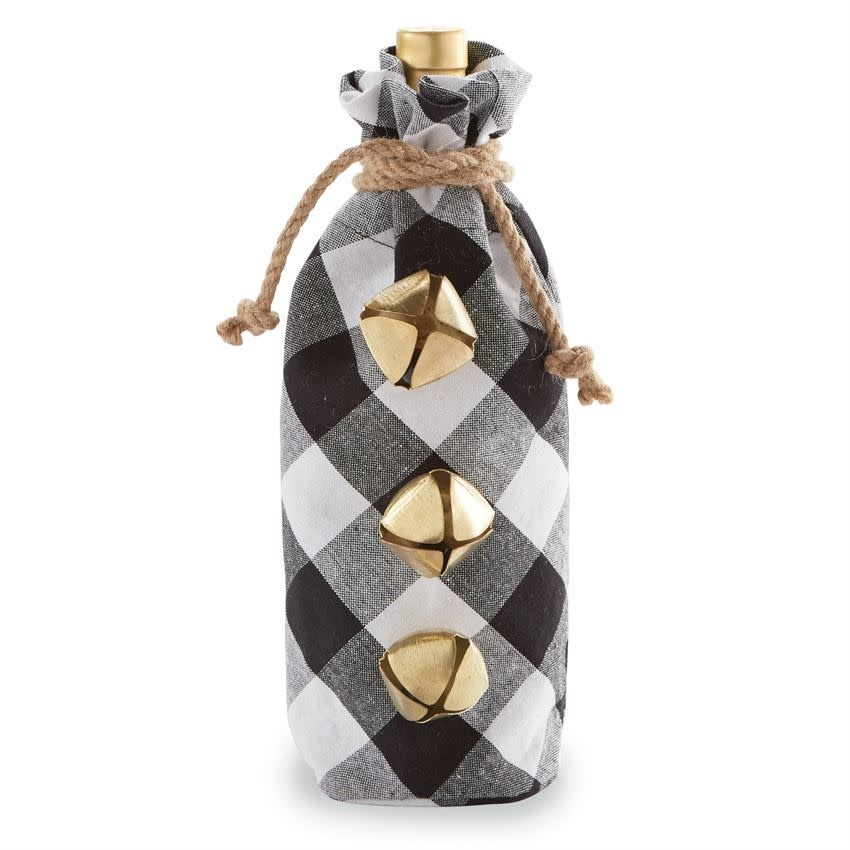 Mudpie BLACK & WHITE BUFFALO CHECK WINE BAG