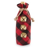 Mudpie RED & BLACK BUFFALO CHECK WINE BAG
