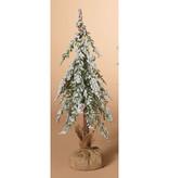 "Fleurish Home Lg Snowy Holiday Alpine Tree with Burlap Base 18""H"