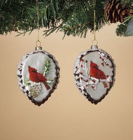 "Fleurish Home *last chance* Glass Pinecone Ornament w Cardinal (choice of 2 designs) 4.5"" H"