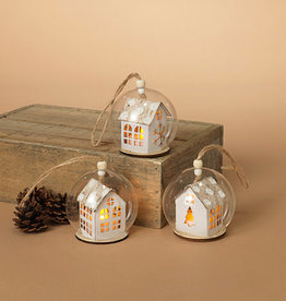 """Fleurish Home *last chance* Lighted House in Glass Ball Ornament (choice of 3 designs) 3.14""""H B/O"""