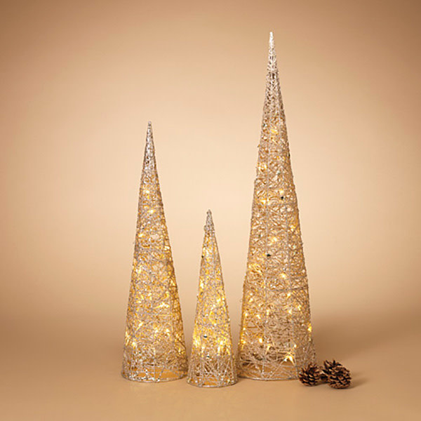 Fleurish Home Small B/O Lighted Holiday Cones Tree