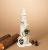 "Fleurish Home Narrow Design Lighted White Wood Church 19.6""H B/O"