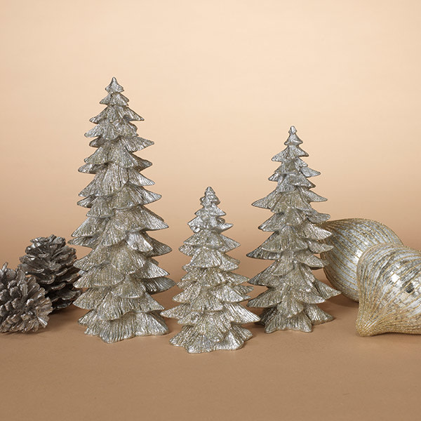 Fleurish Home Medium Resin Silver Glitter Tree
